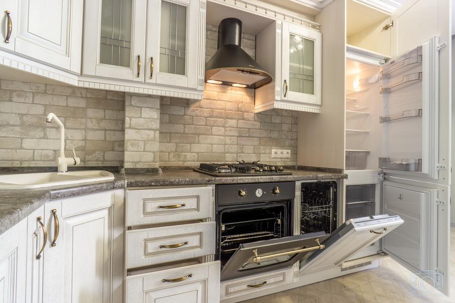 Белый кухонный гарнитур-Кухня из шпона «Модель 7»-фото7