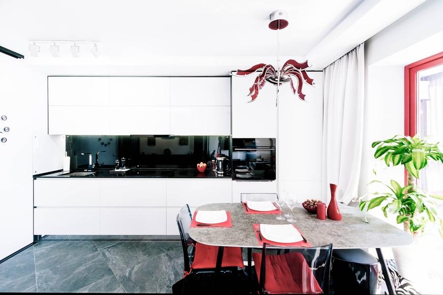 Белый кухонный гарнитур-Кухня из пластика «Модель 343»-фото1