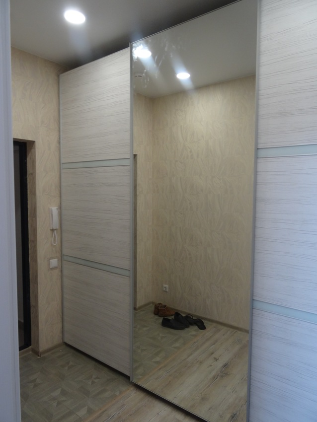 Бельевой шкаф-купе-Шкаф-купе с зеркалом «Модель 459»-фото2