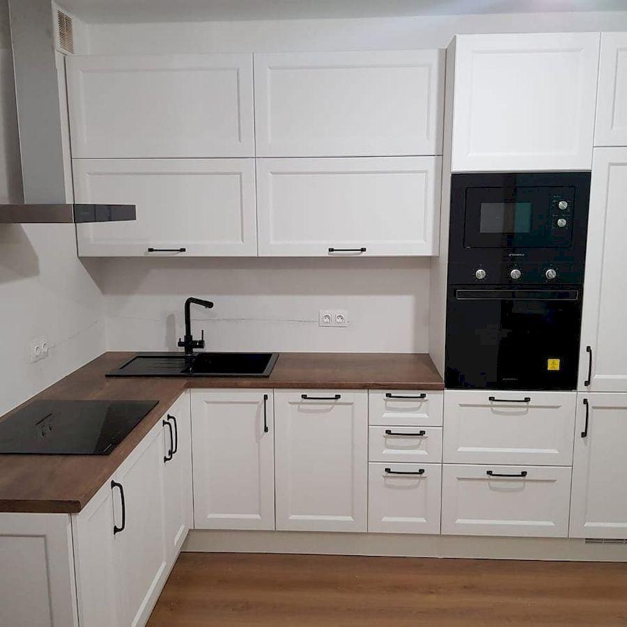 Белый кухонный гарнитур-Кухня МДФ в эмали «Модель 674»-фото1