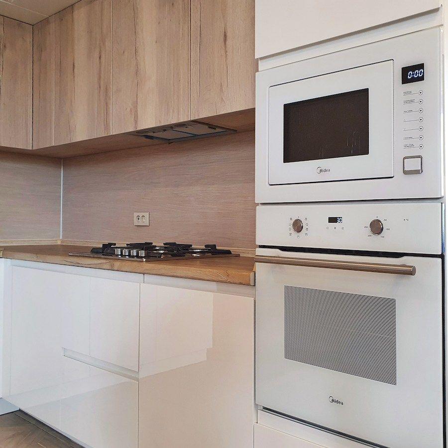 Белый кухонный гарнитур-Кухня МДФ в эмали «Модель 543»-фото2